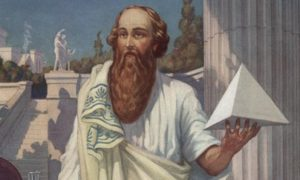 Picture of Pythagoras holding a prism
